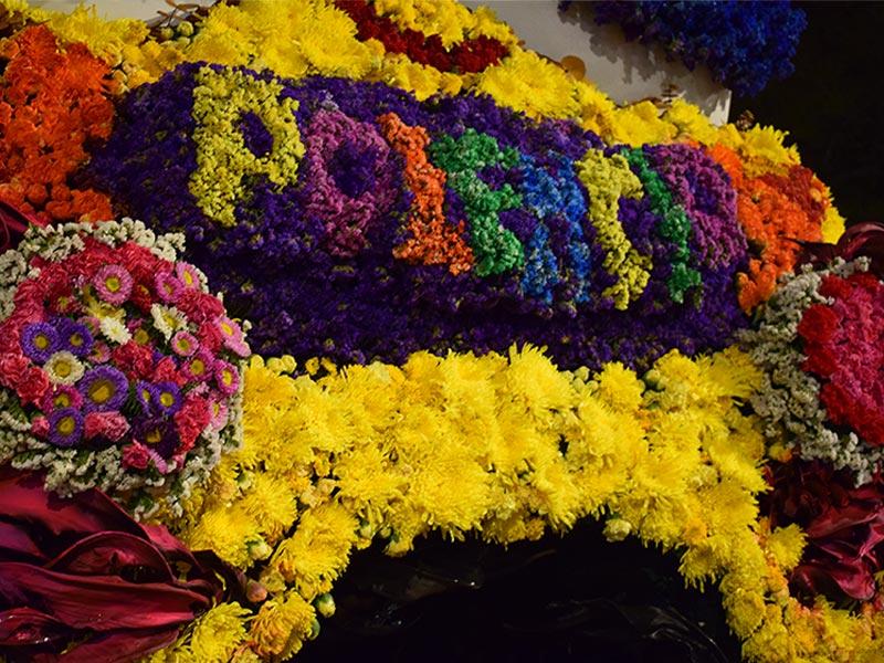 Acercamiento al nombre Polencio hecho con flores
