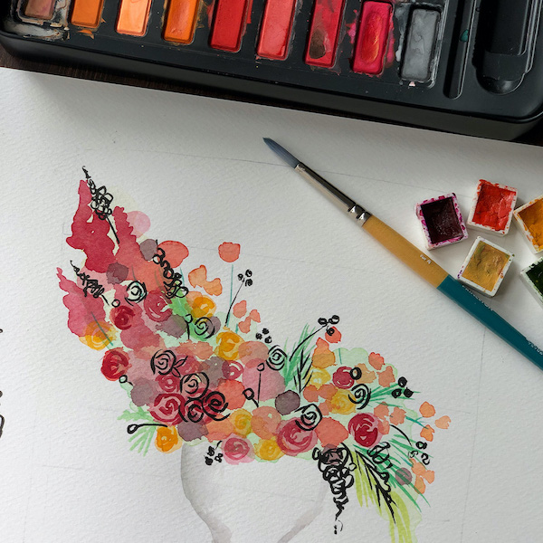 Boceto de flores con acuarela