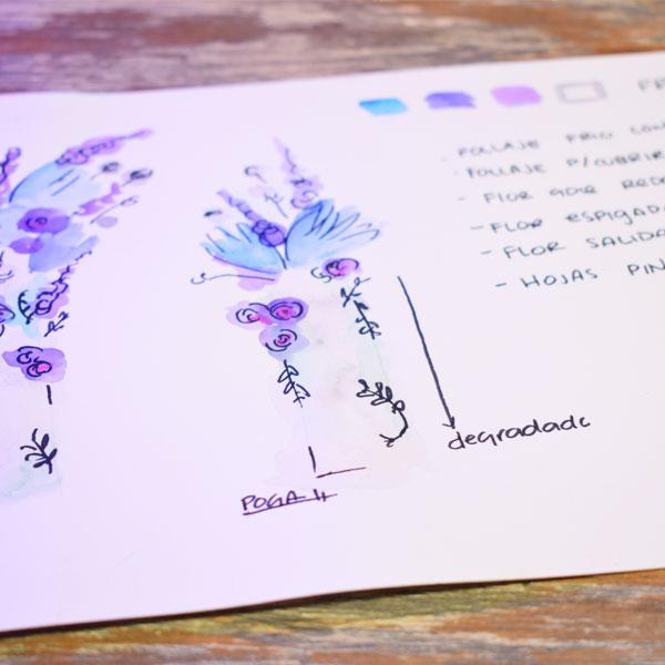 Boceto de flores hecho con acuarela