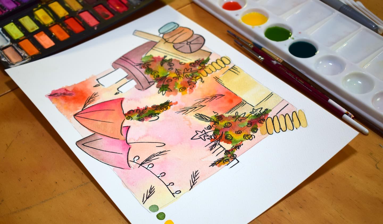 Boceto floral en acuarela